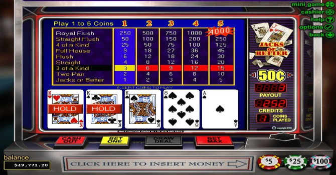 most played video poker