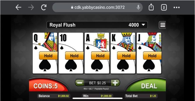 royal flush win